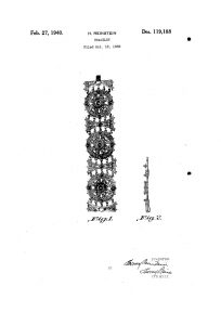 Patent for a bracelet and necklace that were made and signed with the Chanel Script Signature in 1941.